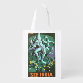 See India Vintage Travel Poster Reusable Grocery Bag