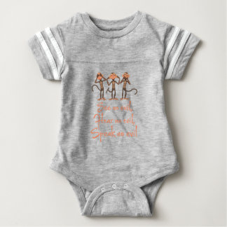 See no evil - hear no evil - speak no evil - baby bodysuit