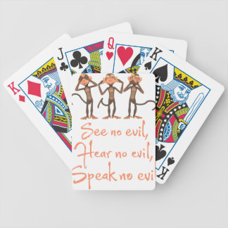 See no evil - hear no evil - speak no evil - bicycle playing cards