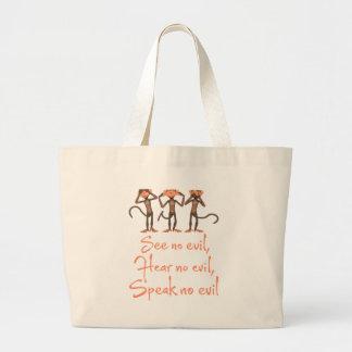 See no evil - hear no evil - speak no evil - large tote bag