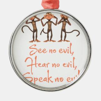 See no evil - hear no evil - speak no evil - metal ornament