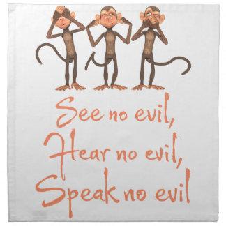 See no evil - hear no evil - speak no evil - napkin