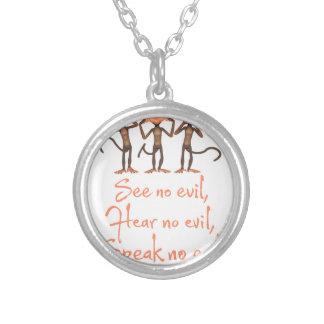 See no evil - hear no evil - speak no evil - silver plated necklace