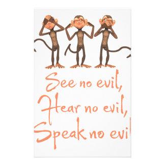 See no evil - hear no evil - speak no evil - stationery paper