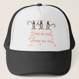See no evil - hear no evil - speak no evil - trucker hat