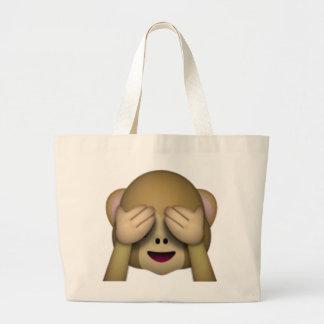 See No Evil Monkey - Emoji Large Tote Bag