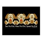 See No Evil Puppies Postcard