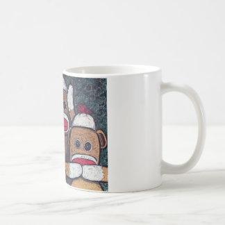 See No Evil Sock Monkeys Classic White Coffee Mug