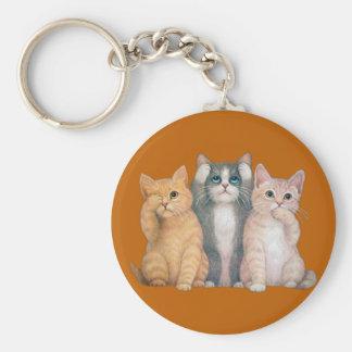 See No Hear No Speak No Evil Cats Keychain