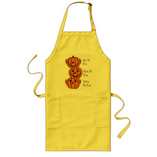 See No, Hear No, Speak No Evil Pumpkins Apron