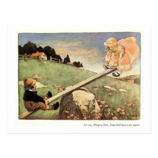 See Saw, Margery Daw Nursery Rhyme Postcard
