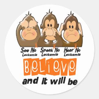 See Speak Hear No Leukemia 3 Round Sticker