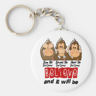 See Speak Hear No Oral Cancer 3 Keychain