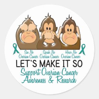 See Speak Hear No Ovarian Cancer 2 Classic Round Sticker