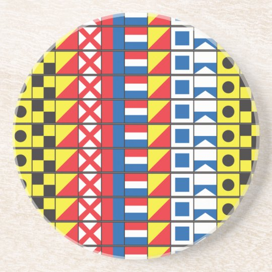 See Worthy_Signal Flags pattern_I Love to sail Coaster