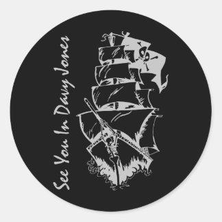 See You In Davy Jones Round Sticker