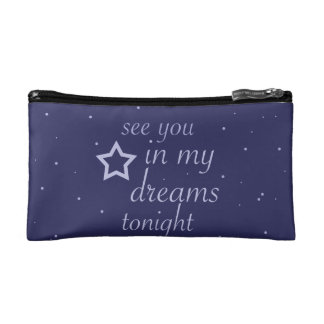"""see you in my dreams tonight"" text with stars cosmetic bag"