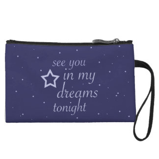 """""""see you in my dreams tonight"""" text with stars wristlet"""