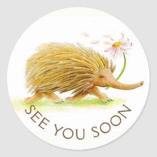 See you soon echidna watercolor whimsy art sticker