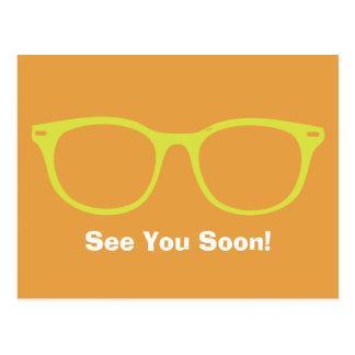 See You Soon Eyeglasses Postcard Lime & Orange