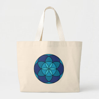 seed of life blue on blue large tote bag