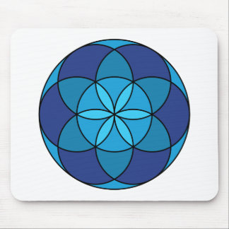 seed of life blue on blue mouse pad
