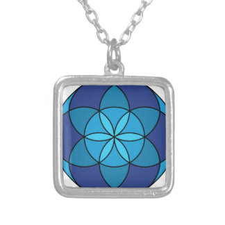 seed of life blue on blue silver plated necklace