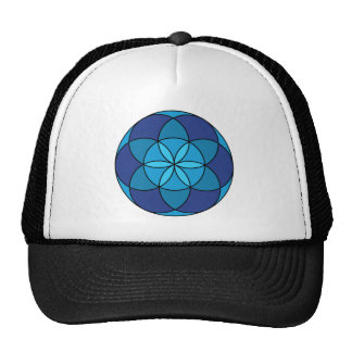 seed of life blue on blue trucker hat