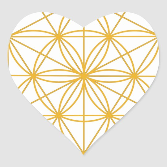 Seed of Life Gold Heart Sticker
