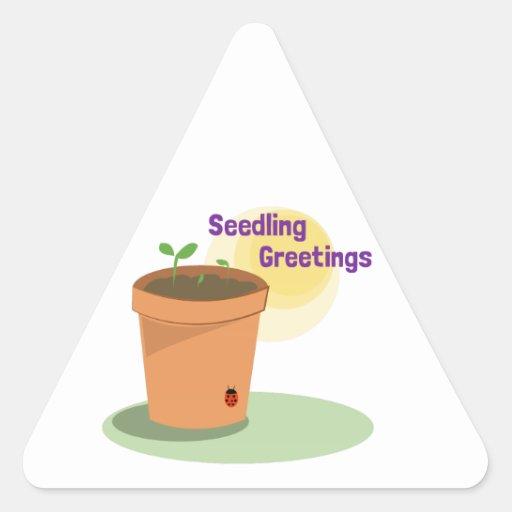Seedling Greetings Triangle Sticker