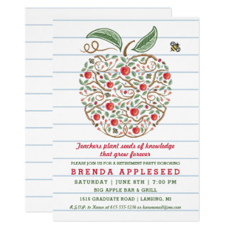 Seeds of Knowledge Teacher's Apple Retirement Card