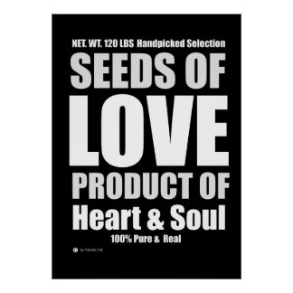 Seeds Of Love Black Poster Text Art