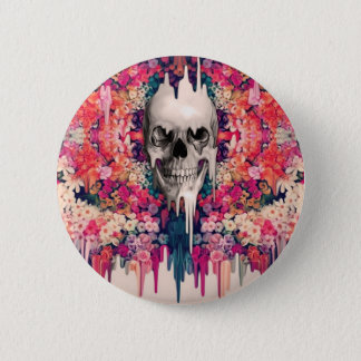 Seeing Color Melting Sugar Skull 2 Inch Round Button