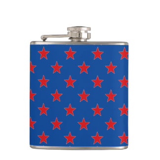 Seeing Stars Blue And Red Stars Pattern Hip Flask