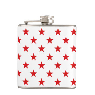 Seeing Stars White & Red Stars Pattern Hip Flask