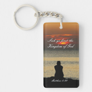 Seek First Kingdom of God, Matthew 6, Ocean Sunset Double-Sided Rectangular Acrylic Keychain