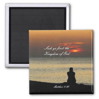 Seek First Kingdom of God, Matthew 6, Ocean Sunset Square Magnet