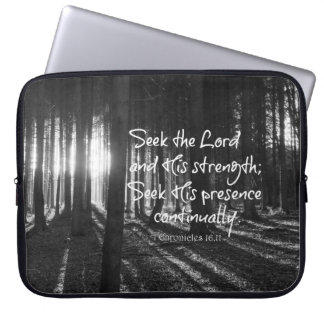 Seek the Lord and His Strength Bible Verse Laptop Computer Sleeves