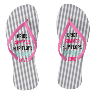 Seersucker Summer Bride Sprinkle Party Flip Flops