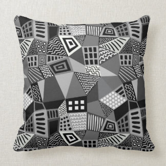 Segmented Abstract 070717 - Black and White Throw Pillow