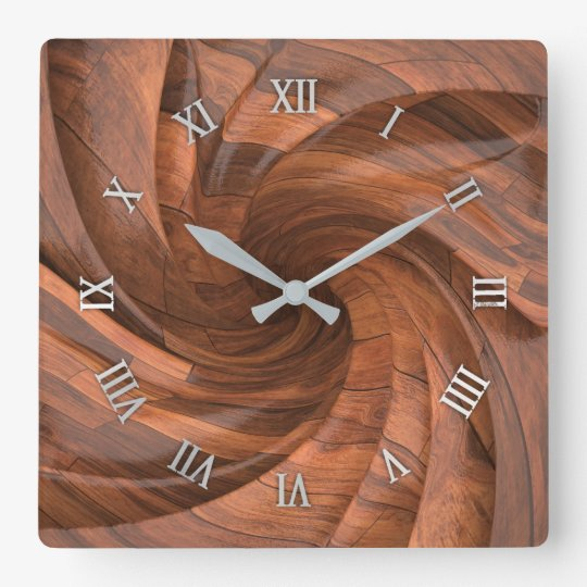 Segmented wood design wall clock
