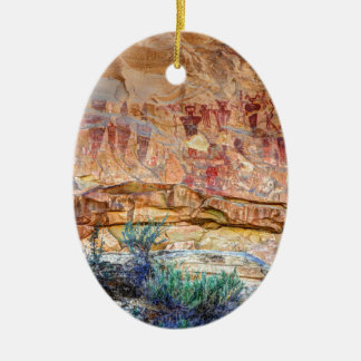 Sego Canyon Indian Pictographs - Utah Ceramic Oval Ornament
