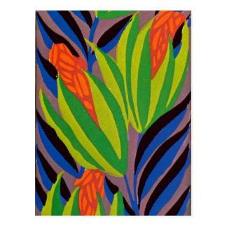 Seguy s Art Deco Tropical Flowers Post Card
