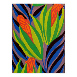 Seguy's Art Deco Tropical Flowers Post Card