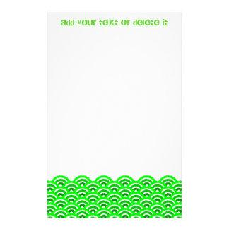 seigaiha (green) stationery design