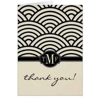 Seigaiha Monogram Thank You Cards