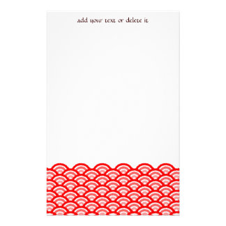 seigaiha (red) personalized stationery
