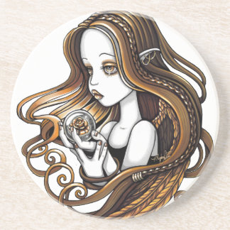 """Seika"" Amber Rose Angel Sandstone Coaster"