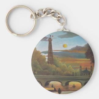 Seine and Eiffel Tower at Sunset by Henri Rousseau Basic Round Button Keychain