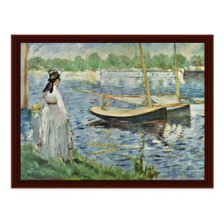 Seine At Argenteuil By Manet Edouard Postcard